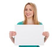 Kvinna med det blanka vita brädet Arkivbild