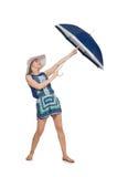 Kvinna med det isolerade paraplyet Royaltyfria Bilder