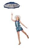 Kvinna med det isolerade paraplyet Arkivbild