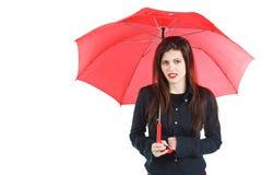 Kvinna med det röda paraplyet Royaltyfri Fotografi