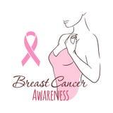 Kvinna med det rosa bandet, vektorillustrationhälsa, medicin, skönhetbegrepp Oktober - bröstcancermedvetenhetmånad stock illustrationer