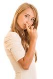 Kvinna med doft Royaltyfria Foton