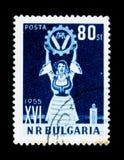 Kvinna med emblemet, kongress för jordbruk 16, circa 1955 Fotografering för Bildbyråer