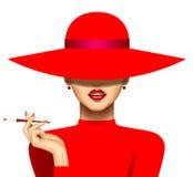 Kvinna med en cigarett i röd hatt och aftonklänning stock illustrationer