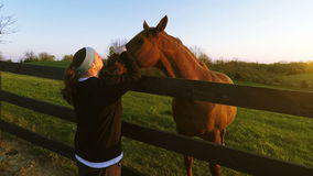 Kvinna med en häst arkivfilmer