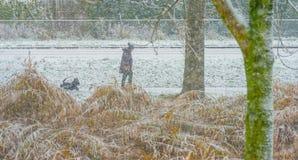 Kvinna med en hund som går i snön Royaltyfri Bild