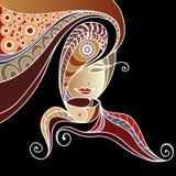 Kvinna med en kopp te eller ett kaffe 6 stock illustrationer