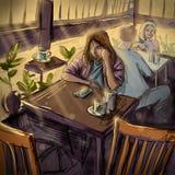 Ung kvinna på en Cafe. Digital illustration Arkivbilder