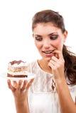 Kvinna med en tårta royaltyfria bilder