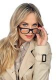 Kvinna med exponeringsglas Arkivbilder
