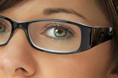 Kvinna med exponeringsglas Fotografering för Bildbyråer