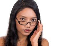 Kvinna med exponeringsglas Arkivfoto