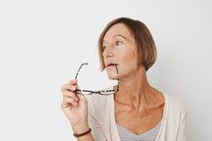 Kvinna med exponeringsglas royaltyfria foton