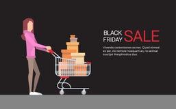 Kvinna med för Black Friday stort Sale för shoppingvagn utrymme för kopia baner vektor illustrationer