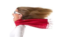 Kvinna med flödande hår arkivfoto
