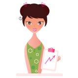 Kvinna med Flip Chart som växer upp isolerad på vit royaltyfri illustrationer