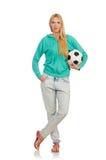 Kvinna med fotboll Fotografering för Bildbyråer