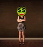 Kvinna med framsidan för smiley för dollartecken Arkivfoton