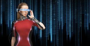 Kvinna med futuristiska exponeringsglas och avkännare Arkivfoto