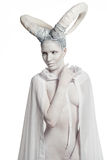 Kvinna med getkropp-konst Arkivfoto