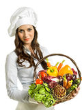 Kvinna med grönsaker Royaltyfria Bilder