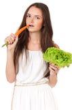 Kvinna med grönsaker Royaltyfri Fotografi