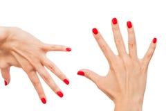 Kvinna med härliga manicured röda fingernaglar Fotografering för Bildbyråer