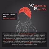Kvinna med hår i röd turban Stock Illustrationer