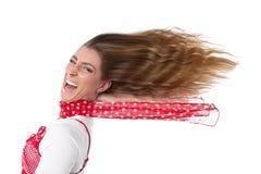 Kvinna med hår i vind arkivfoton