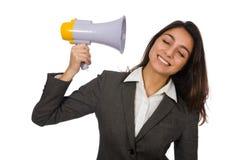Kvinna med högtalare Royaltyfri Foto