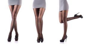 Kvinna med högväxta ben på vit Royaltyfria Bilder