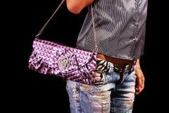 Kvinna med handväskan Royaltyfria Foton