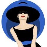 Kvinna med hatten royaltyfri illustrationer
