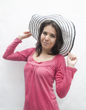 Kvinna med hatten Arkivbild