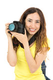 Kvinna med hennes kamera Royaltyfria Foton