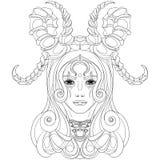 Kvinna med horns Royaltyfria Bilder