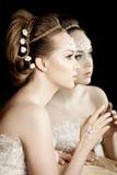 Kvinna med idérikt smink av pärlor Royaltyfria Bilder