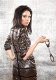 Kvinna med idérikt smink på silverbakgrund Royaltyfri Foto