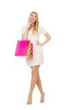 Kvinna med isolerade shoppingpåsar Arkivfoton
