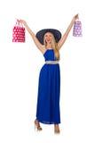 Kvinna med isolerade shoppingpåsar Royaltyfri Foto