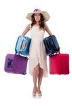 Kvinna med isolerat bagage Arkivfoto