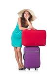 Kvinna med isolerat bagage Royaltyfria Foton
