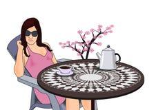 Kvinna med kaffe royaltyfri illustrationer