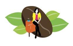 Kvinna med kaffe stock illustrationer