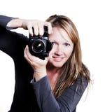 Kvinna med kameran Royaltyfri Foto