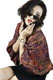 Kvinna med kläder traditionella indonesia, smiled2 Fotografering för Bildbyråer