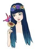 Kvinna med kolibrin Royaltyfria Bilder