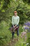 Kvinna med korgen av blommor i trädgård Fotografering för Bildbyråer