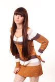 Kvinna med långt brunt hår för skönhet Arkivbild