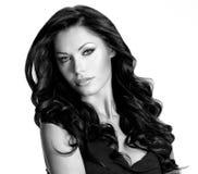 Kvinna med långt hår för skönhet Fotografering för Bildbyråer